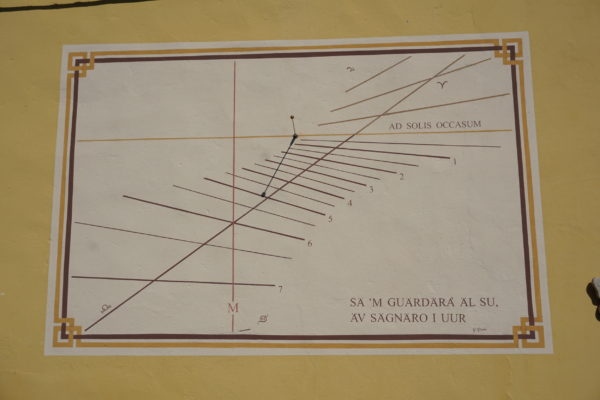 Orologio solare italico ad ore residue. Italic sundial with remaining hours.