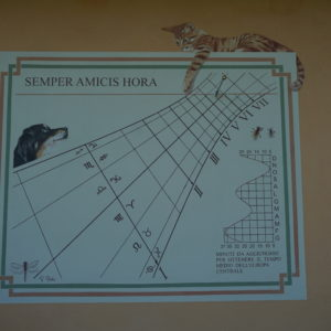 Orologio solare affrescato. Frescoed sundial facing west